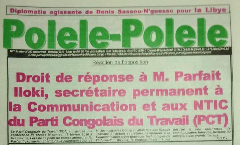 Droit de réponse à M. Parfait Iloki, secrétaire permanent à la Communication et aux NTIC du Parti Congolais du Travail (PCT)